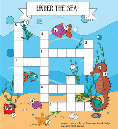 Crossword educational children game with answer. Learning vocabulary. Sea, marine life and animals theme. Vector illustration, printable worksheet
