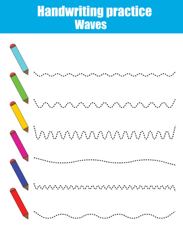 Handwriting practice sheet. Educational children game, restore the dashed line. Writing training printable worksheet. Drawing waves Vectores