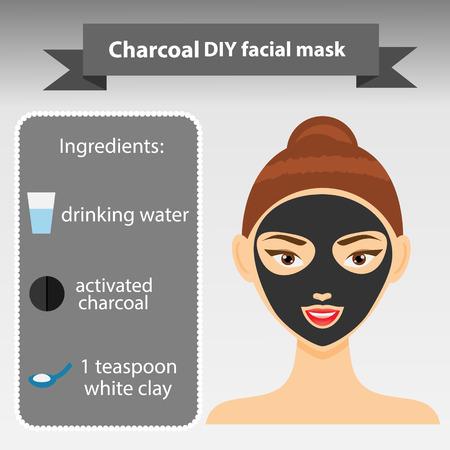 Jonge vrouw met een gezichtsmasker. Vector illustratie. Recept van het schoonmaken van houtskool en klei masker. Beauty infographics