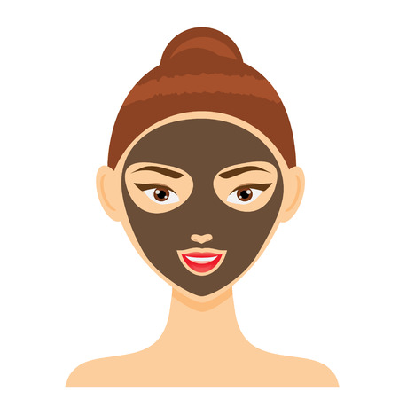 Young woman with facial mask. Vector illustration