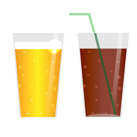 restaraunt: Glasses with beer, cider, lemonade or ice tea. ?arbonated Drinks icons, isolated design elements