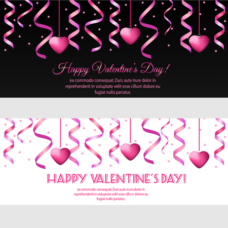 speed dating: St Valentines day horizontal banners with hanging pink streamers and hearts. Design template for party invitation, romantic events, speed dating, social media, promotion