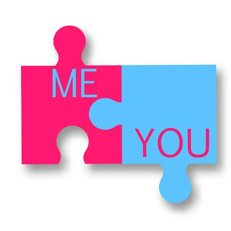 part of me: Rosa y azul dos piezas de rompecabezas. Tú y yo ilustración vectorial romántica, concepto de relación real. Elementos de diseño aislado Vectores