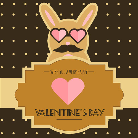 mustached: Valentine day card with cute funny mustached bunny character. Rabbit in heart shaped sunglasses. Romantic, love design template for greeting card, invitations, party and etc
