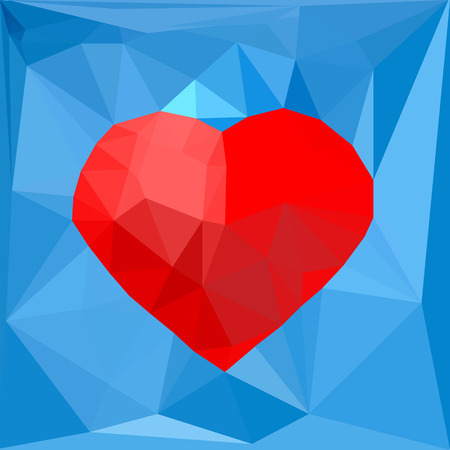 hot couple: Artistic red geometric heart symbol on blue polygonal background. Vector illustration. Concept, design template for romantic, love St Valentines day banner, flyer, promotion