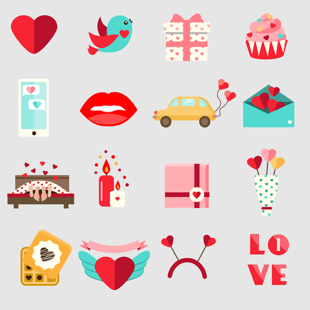 St Valentines day icons. Set of colorful flat romantic, love holidays symbols. Cupcake, hearts, envelope, candles and other traditional design elements, stickers for weddings, invitations and etc