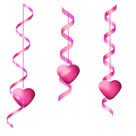 speed dating: Pink hanging streamers and hearts. Isolated Design elements for party invitation, romantic events, speed dating, social media, valentines Day cards, promotion