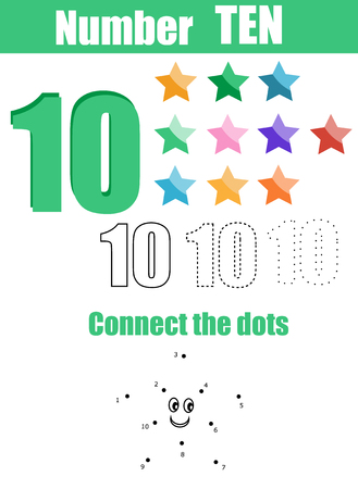 number ten: Handwriting practice. Learning mathematics and numbers. Number ten. Educational children game, printable worksheet for kids