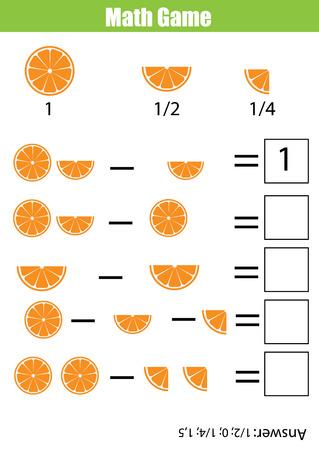 Matemáticas juego educativo para los niños. conteo de aprendizaje, hoja de cálculo de la resta para los niños. Fracciones, la mitad, cuartos