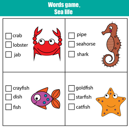 developmental: Words test educational game for children. Sea animals theme, learning vocabulary. Choose the correct answer task Illustration