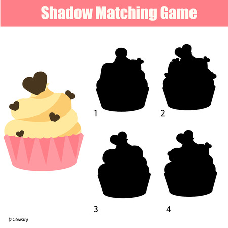 matching: Shadow matching game for children. For kids preschool and school age. Worksheet, find the correct silhouette for cupcake Illustration