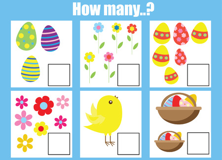 addition: Counting educational children game, kids activity worksheet. How many objects task, easter theme. Learning mathematics, numbers, addition theme Stock Photo
