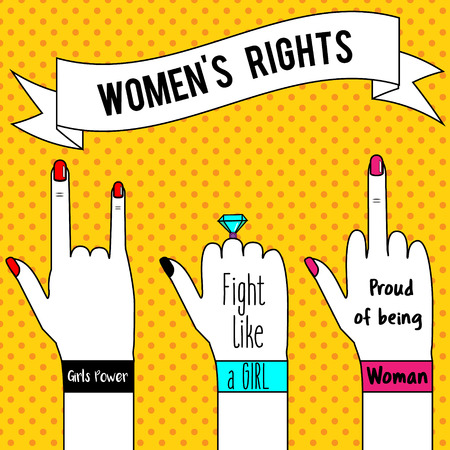 Womens rights. Womans hands and slogan ribbon. Feminism concept illustration in pop art style for poster, flyers