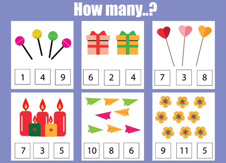 Counting educational children game, kids activity worksheet. How many objects task. Learning mathematics, numbers, addition theme