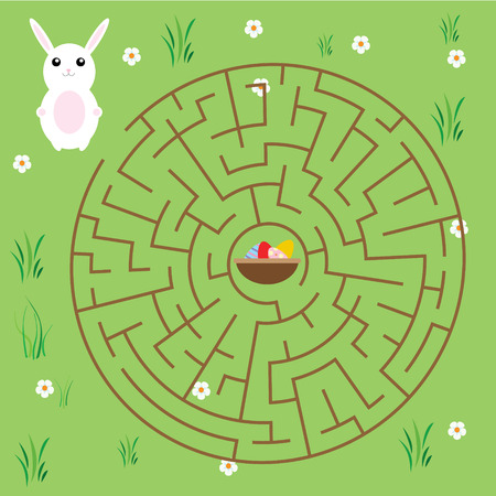 developmental: Maze children game. help the bunny go through labyrinth and find way to the easter eggs Illustration