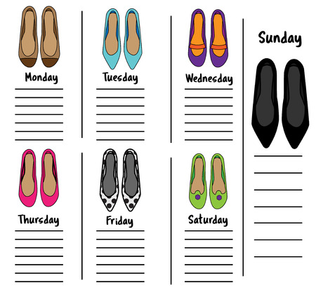 Woman weekly daily planner template with fashionable shoes vector woman weekly daily planner template with fashionable shoes organizer diary schedule with notes for females time management printable maxwellsz