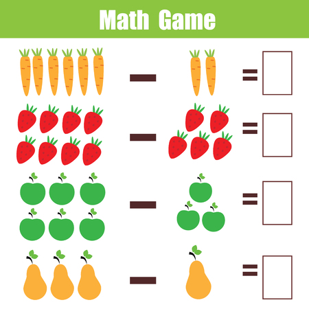 Mathematics educational game for children. Learning subtraction worksheet for kids, counting activity