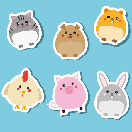 Cute domestic animals. Stickers set. Children style, isolated design elements, vector illustration. Cat, rabbit, puppy, pig, hamster. Isolated design elements for kids books Illusztráció