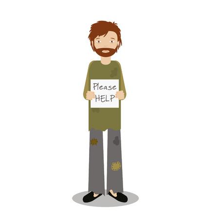 Homeless man begging for help. Vector illustration of beggar character Illustration