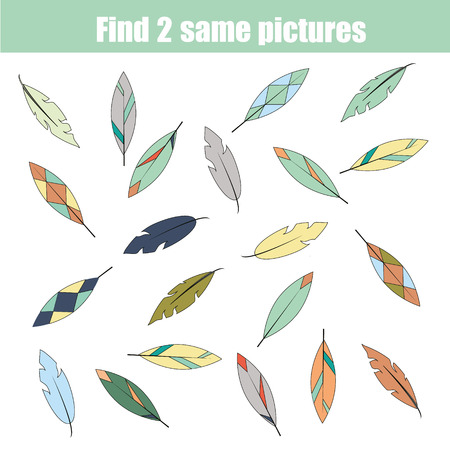 Find the same pictures children educational game. Find equal pairs of feathers kids activity