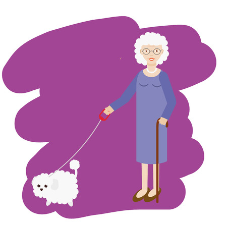 dog walking: Aged lady walking with white fluffy dog. Old women, elderly grandmother with cane and with pet. Vector illustration