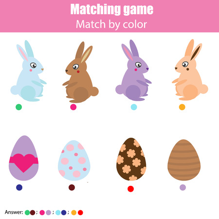 Matching children education game, kids activity. Easter hunting theme. Match by color Connect bunny with eggs