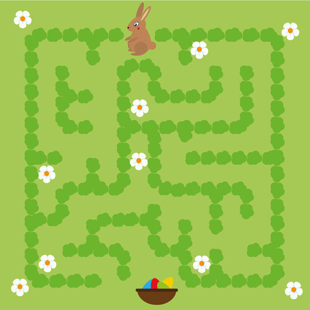 Maze children game. help the bunny go through labyrinth and find way to the Easter eggs Illustration