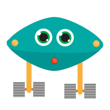 Personaje robot Ilustración de vector, elementos de diseño aislado. Android azul, amigable ai