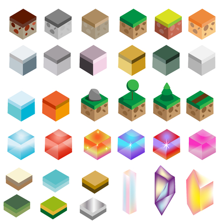 Game assets. Isometric texture bricks and magic crystals. Landscape, rock, water, magic isolated design elements for gaming interface