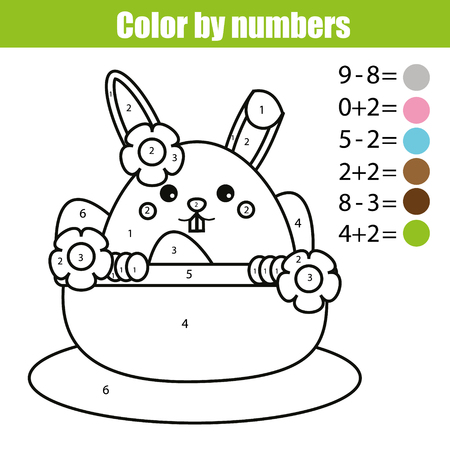 Coloring page with Easter bunny character. Color by numbers math educational children game, drawing kids activity, printable sheet. rabbit in busket with eggs Illustration