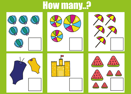 additional training: Counting educational children game, kids activity worksheet. How many objects task. Learning mathematics, numbers, addition theme