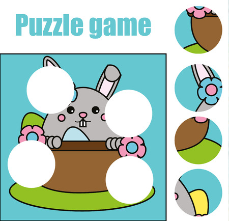 Matching children educational game. Match pieces and complete the picture with cute Easter bunny character. Puzzle kids activity Vectores