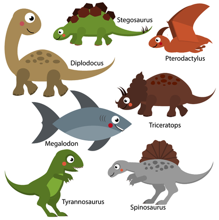 Cute dinosaurs set. Cartoon dino characters, isolated elements for kids design, educational children infographics. Diplodocus, Tyrannosaur, Triceratops and other prehistoric creatures. vector illustration