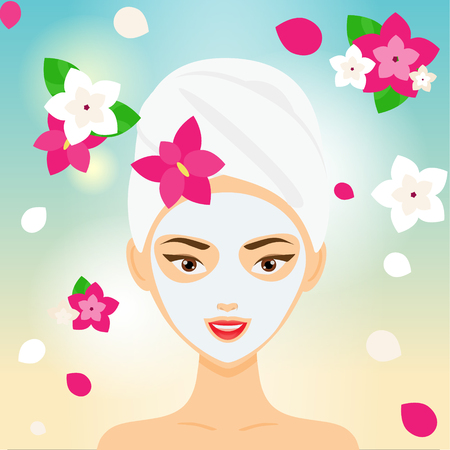 Young woman with towel and cosmetic facial mask among flowers. SPA, resort, beauty salon concept vector illustration Illustration