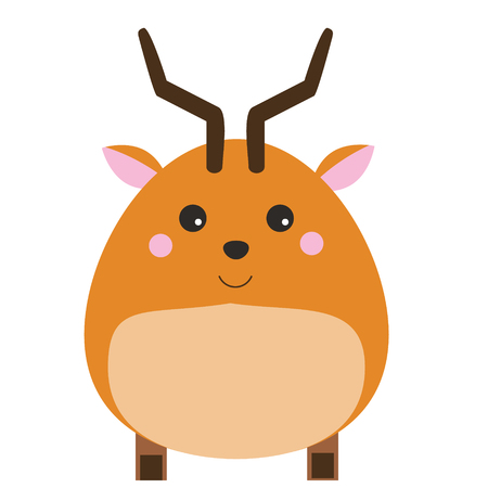 Cute kawaii antelope character. children style, vector illustration. Sticker, vector illustration, isolated design elements for kids books Illustration