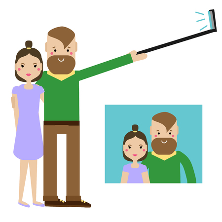 Modern young couple taking selfie photo. Hipster Man and woman family having fun and get romantic memories. Vector illustration