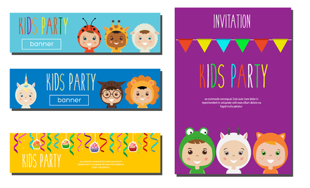 Kids Party Banners design template. Children in Animal Carnival Costumes. Party invitation mock up. Vector illustration.