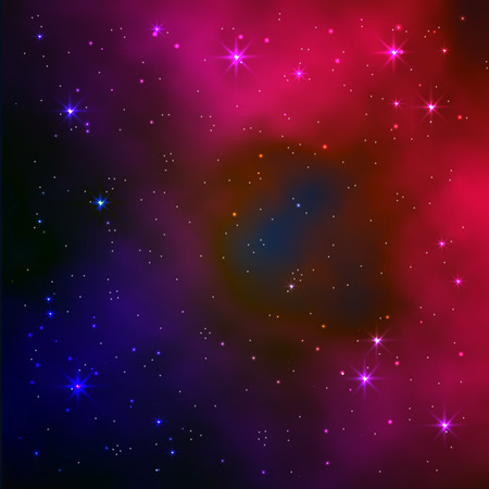 Space galaxy vector background with stars and nebula. Realistic vector illustration.