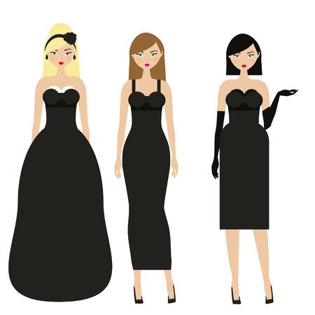 Women in black dresses. Female night, evening dressy dresscode. Ladies in elegant fashionable clothes