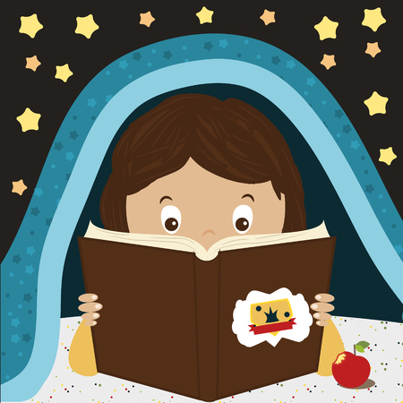 duvet: Child Reading Book. Kid reading at night under the blanket. Cartoon character boy or girl.