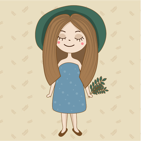 Hand drawn girl in green hat and summer dress. Artistic boho female character ith plants in hand.
