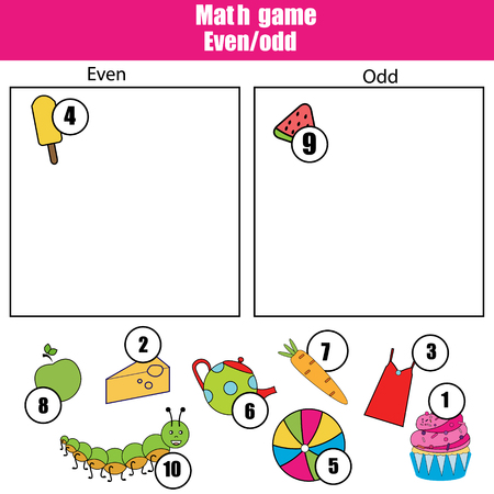 Math educational game for children. Learning even and odd numbers.