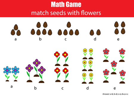 Math educational game for children. Matching mathematis activity. Counting game for kids with answer Illustration