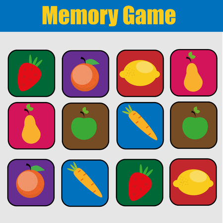 Educational children game, kids activity. Memory game, friuts and vegetables theme.