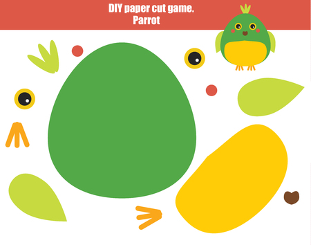 DIY children educational creative game. Make a parrot with scissors and glue.