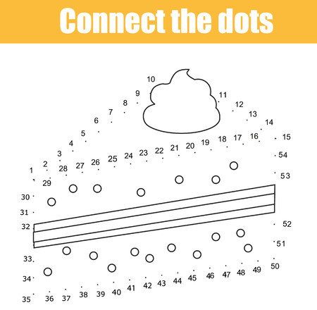 Connect the dots children educational drawing game. Dot to dot by numbers game for kids.