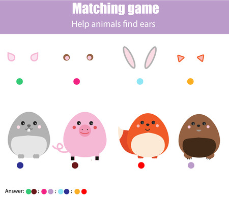 Matching children educational game. Help animals find ears. Activity for pre shool years kids Illusztráció