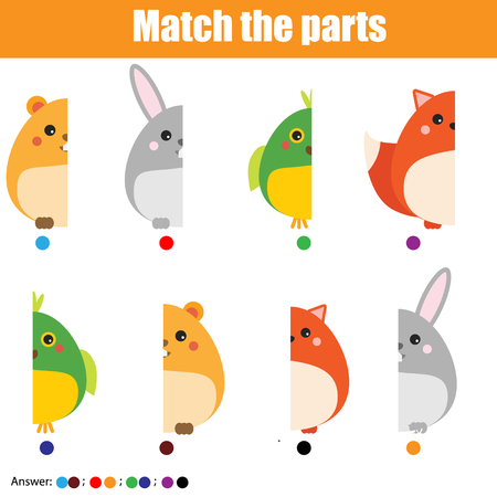 Matching children educational game. Match animals parts. Activity for pre shool years kids