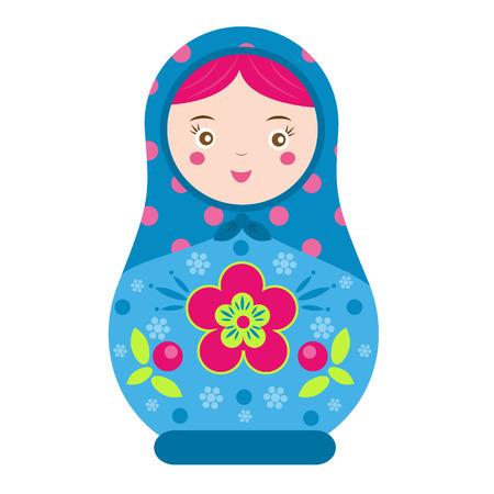 matreshka: Matryoshka. Traditional russian nesting doll. Smiling Matreshka icon. Vector illustration