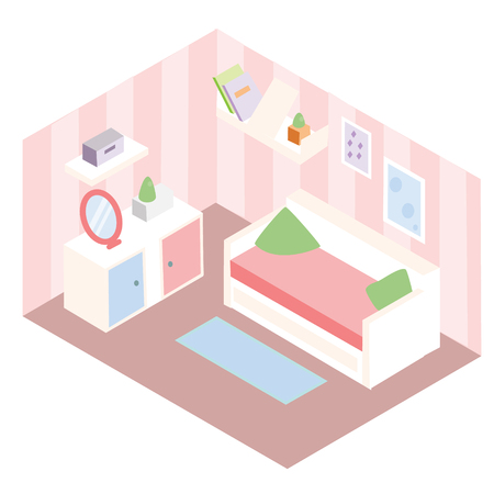 Isometric room interior. Apartment in pink colors and white furniture. Vector illustration.